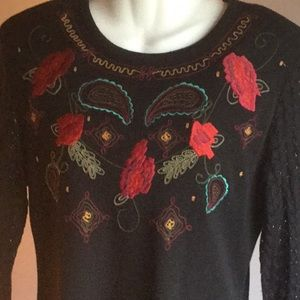CAROLE LITTLE WOMENS EMBROIDERED SWEATER DRESS   M